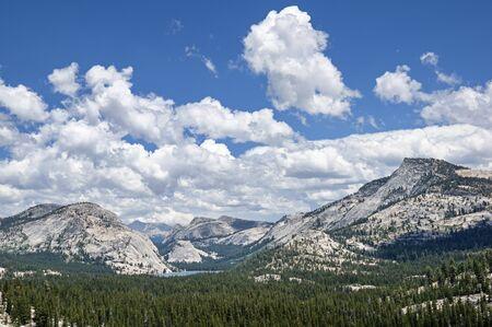Tenaya Lake and the granite tuolumne domes and peaks of Yosemite National Park