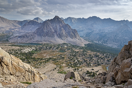 Center Basin and CenterPpeak from University Pass in the Sierra Nevada Mountains Stock Photo