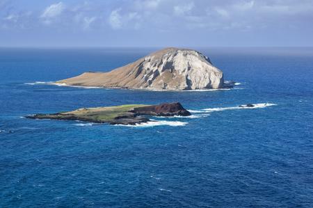 Rabbit Island and Kaohikaipu Island from Makapuu point in Oahu Hawaii