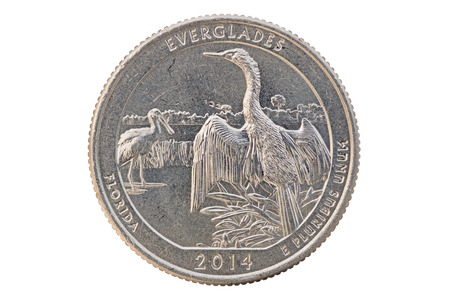 25 cents: Everglades Florida commemorative quarter coin on white