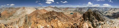 kings canyon national park: 360 degree panorama of the Sierra Nevada Mountains from Crater Mountain in Kings Canyon National Park