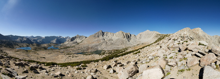 panorama of Pioneer Basin in the Sierra Nevada of California with Robber Baron Crocker and Hopkins peaks