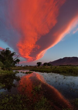 lenticular cloud: dramatic sunset in the Owens Valley with a Sierra wave cloud reflected in a flooded field
