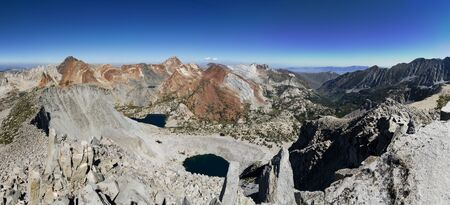 panorama looking down at the McGee Creek Valley from Mount Crocker Stock Photo