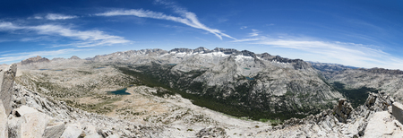 panorama of a mountain valley from Pilot Knob looking over the Humphreys Basin and Glacier Divide in the Sierra Nevada Mountains
