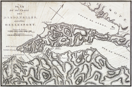 vintage French map of the Dardanelles and Hellespont from an 1802 book