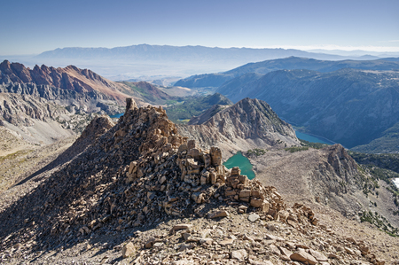 owens valley: vista from the summit of Lamarck Col Peak in the Eastern Sierra Nevada Mountains