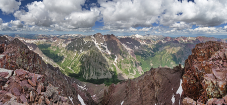 panorama from the summit of Pyramid Peak in Colorado including the 14ers the Maroon Bells Snowmass and Capitol peaks