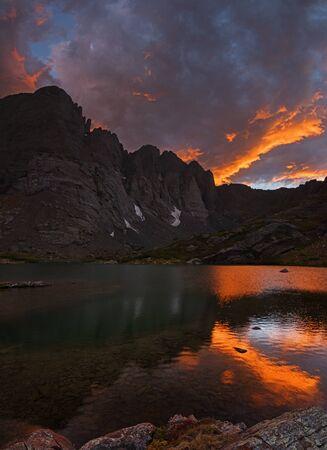 sunset over South Colony Lake and Crestone Needle and Crestone Peak in the Sangre De Cristo Range of Colorado