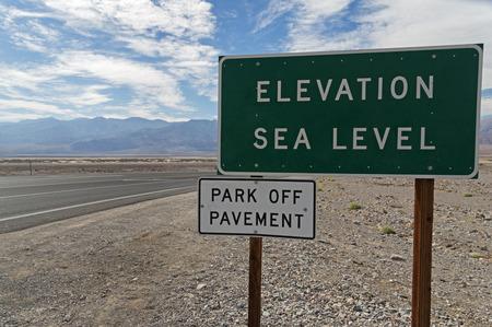 elevation: elevation sea level sign in Death Valley National Park
