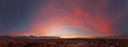sunset panorama on the volcanic tablelands near Bishop California Stock Photo