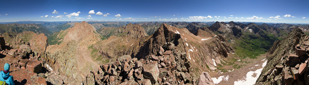 Panorama from the summit of Mount Eolus in the Needle Range of Colorado