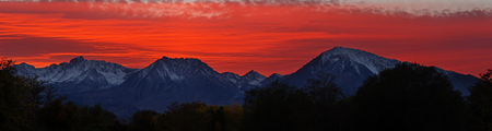 sunset over Mount Humphreys Basin Mountain and Mount Tom from Bishop California