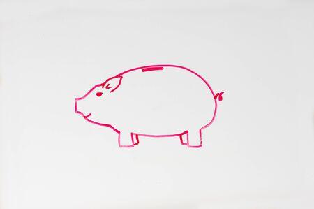 ホワイト ボードのピンクの貯金箱の図面 写真素材 - 70757383