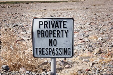 old private property no trespassing sign in the desert Stock fotó