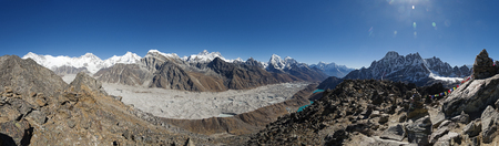 panorama of the Himalayas from the summit of Gokyo Ri including Cho Oyu Everest and Cholatse and the Ngozumba Glacier