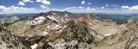 panorama of San Juan Mountains in Colorado from Wilson Peak