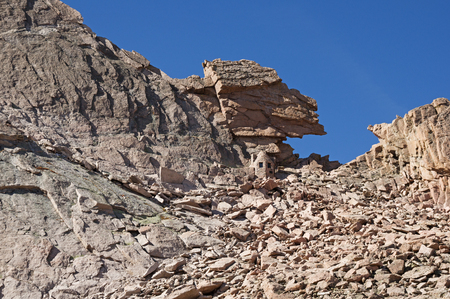 longs peak: the keyhole on Longs Peak in Rocky Mountain National Park Stock Photo