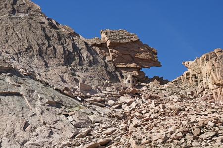 talus: the keyhole on Longs Peak in Rocky Mountain National Park Stock Photo