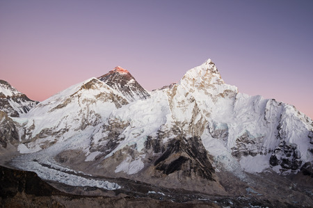 Mount Everest and Nuptse seen from Kala Patthar just after sunset with purple sky
