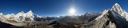 elevation meter: Himalayan 360 degree panorama from Kala Patthar including Everest Nuptse Ama Dablam and Pumori Stock Photo