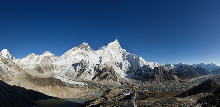 elevation meter: Himalayan  panorama from Kala Patthar including Everest Nuptse and Ama Dablam Stock Photo