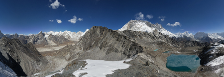 panorama above Kongma La Pass with views down to Lobuche on the left and Makalu on the right Stock Photo