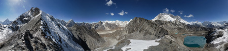 360 degree panorama taken from the ridge up from Kongma La Pass towards Pokalde Mountain with Himalayan peaks in all directions