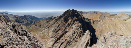 panorama from the summit of Crestone Needle in the Sangre De Cristo Range including Crestone Peak Banco de Imagens