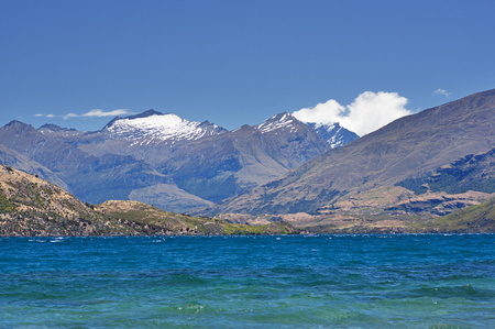 aspiring: Lake Wanaka and view to Mount Aspiring snow covered mountains