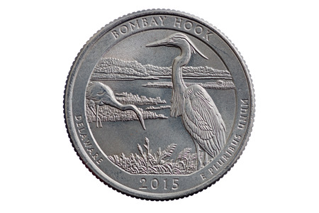 unum: Bombay Hook commemorative quarter coin isolated on white