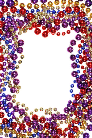 Border Frame Of Mardi Gras Bead Necklaces Isolated On White Stock ...