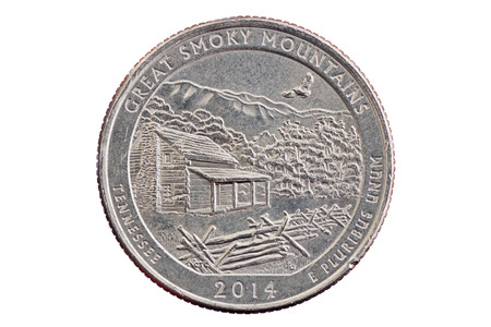 e pluribus unum: Great Smoky Mountains commemorative quarter coin isolated on white