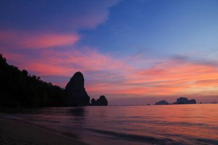sunset on the tropical beach of Tonsai Thailand