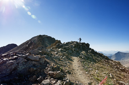 a woman hiker on the ridge up to the summit of Missouri Mountain in Colorado