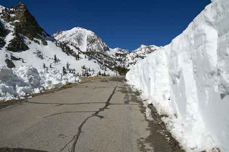 the mountain road up Onion Valley with wall of recently cleared snow on one side