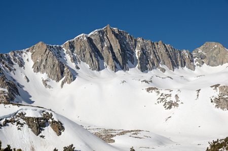 the north face of Mount Goode in the Sierra Nevada Mountains of California with heavy snow