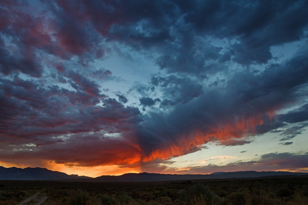 dramatic sunset over the Owens Valley with distant mountains