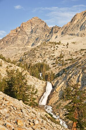 waterfall on Pine Creek and Peppermint Mountain in the Sierra Nevada Mountains of California