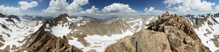 panorama from the summit of Mount Wallace in the Sierra Nevada Mountains of California Banco de Imagens