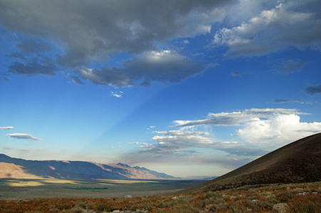 sunrays stream across the Owens Valley