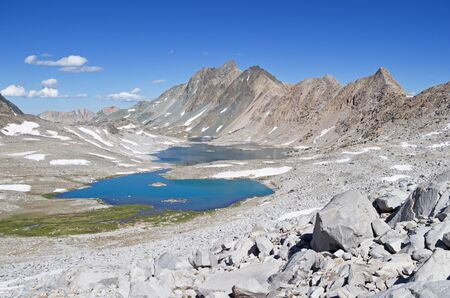 Mount McGee and Davis Lake in Kings Canyon National Park Banco de Imagens