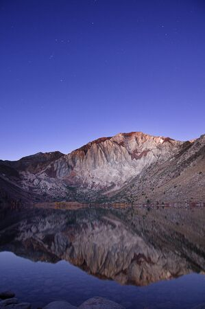Convict Lake and Laurel Mountain early in the morning with Orion still visible in the sky