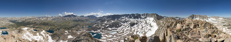 360 degree mountain panorama from Wahoo Mountain on the Glacier Divide with Humphrey Basin in the Sierra Nevada Mountains of California