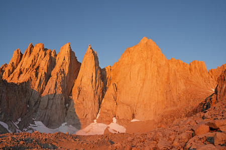 Mount Whitney and Keeler Needle lit up by the first light of dawn