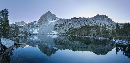 panorama of Treasure Lake in the Sierra Nevada near Bishop California