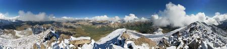 コロラド大学山脈の14420フィートハーバード山の頂上からのパノラマ 写真素材