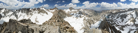 360 degree mountain summit panorama from the top of Picture Peak in the eastern Sierra Nevada Mountains of California Stock Photo