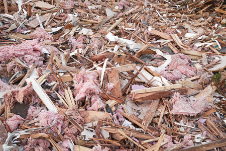 construction debris with insulation wood and metal pieces