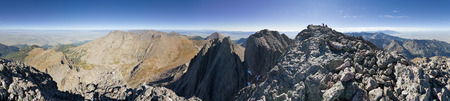 360 degree panorama of the top of Crestone Peak in the Sangre De Cristo Range in Colorado with 2 people on the summit